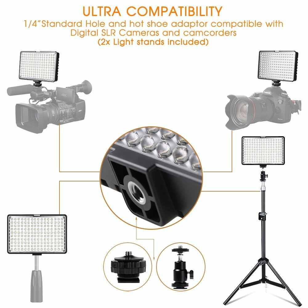 spash TL-160S LED Video Light Kit Photography Lighting with Stand NP-F550 Battery Dimmable 3200K/5600K 160 LED Studio Lamp