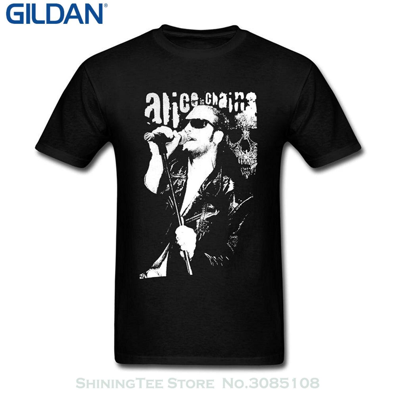 GILDAN New 2017 Fashion T Shirt Men Cinxon Men Alice In Chains Layne Staley Short Tee Shirt