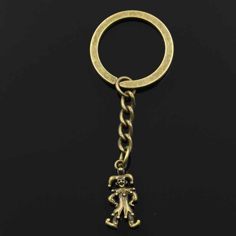 Moda clown joker jester 25x12mm wisiorek 30mm Key Ring metalowy łańcuch srebrny brązowy mężczyźni samochód prezent pamiątki brelok Dropshipping