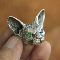 High Details 925 Sterling Silver Sphynx Cat Pendant Mens Biker Pendant TA113A
