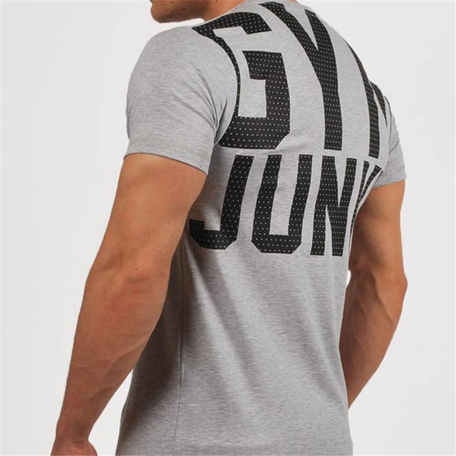 Men Running Breathable Cotton t shirt Gym Fitness Workout Training Short sleeve T-shirts Male Jogging Slim Tee Tops Man Clothing