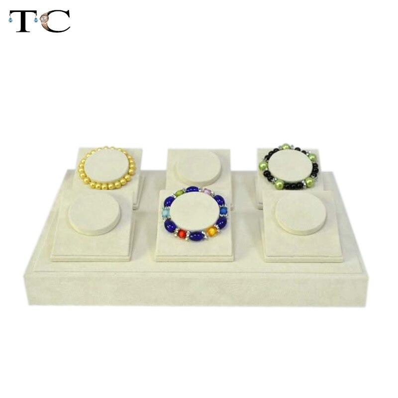 Ювелирные изделия Дисплей браслет стенты браслет подставка держатель бежевый бархат bracelct организовать Чехол браслет лоток