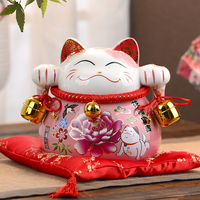 Japanese Style Ceramic Lucky Cat Money Box Piggy Bank Home Decor Fortune Cat Fengshui Craft Porcelain Ornaments Business Gifts
