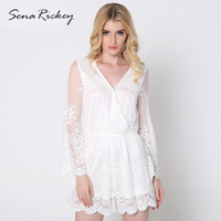 Sena Rickey White Lace Women Jumpsuit Casual Lady Bodysuit Sexy Playsuits V Neck Summer Long Sleeve