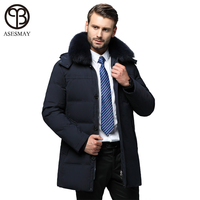 Asesmay new arrival men down jacket winter thick coat long down parka real fur collar hoodies goose feather winter men jackets