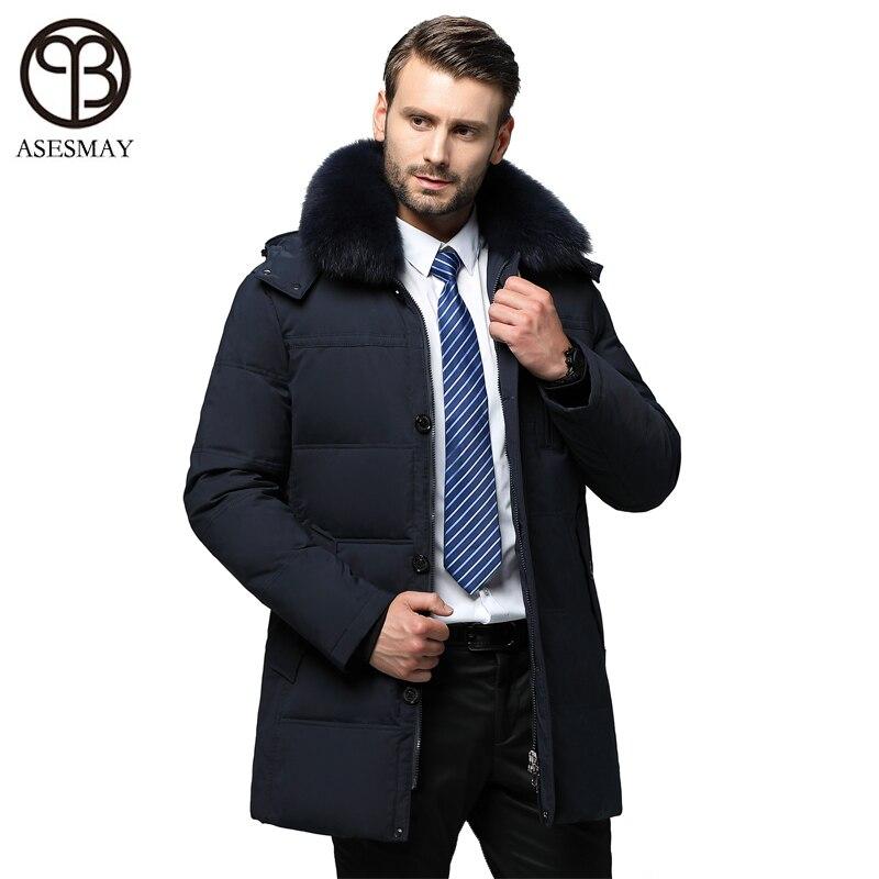 Asesmay nouveauté hommes doudoune hiver manteau épais long vers le bas parka véritable col en fourrure hoodies plume d'oie hiver hommes vestes