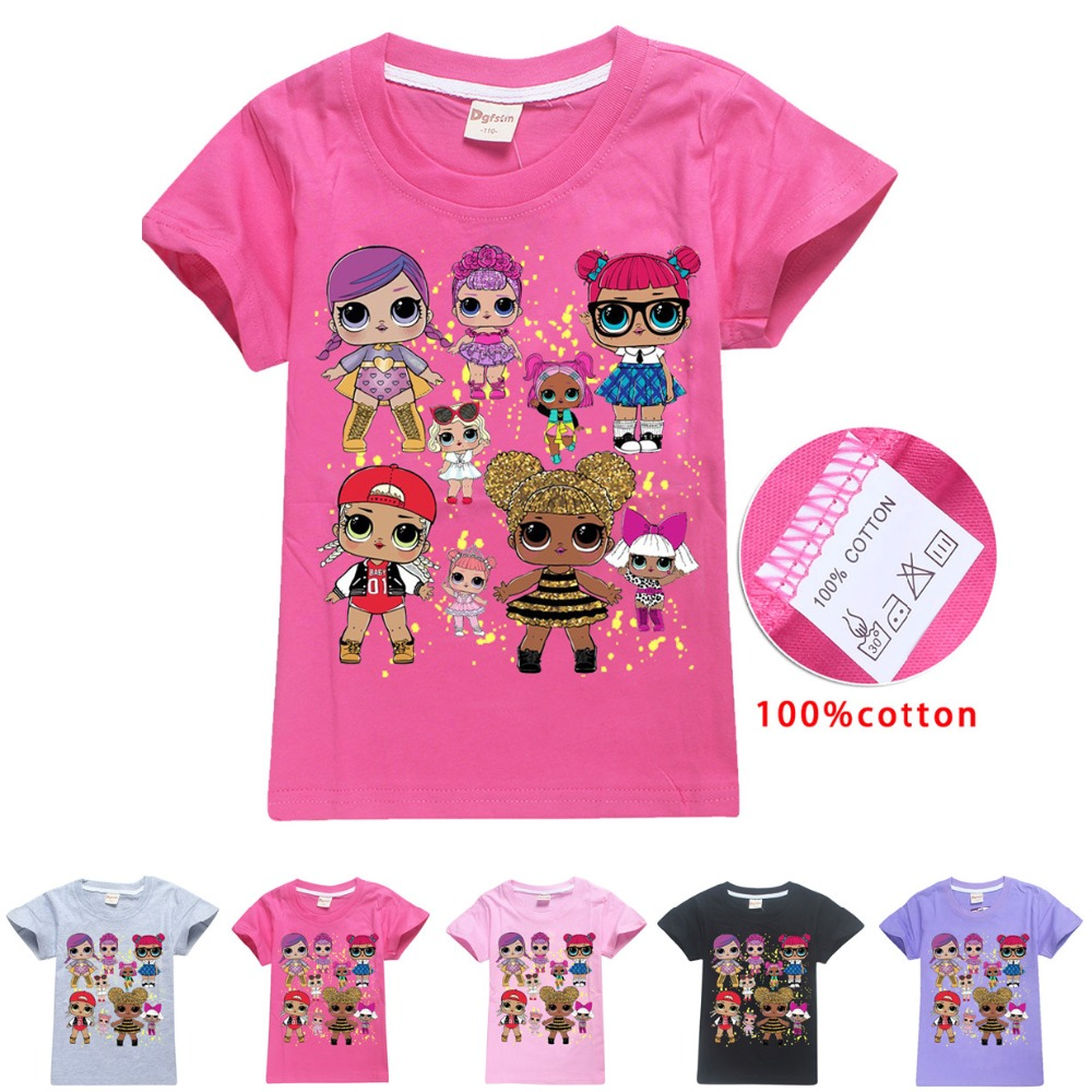2018 NEW ARRIVAL lol Dolls T-shirts Summer Top O-neck 100% Cotton Girls Clothes Kids tshirt Cartoon Teens Summer Clothing