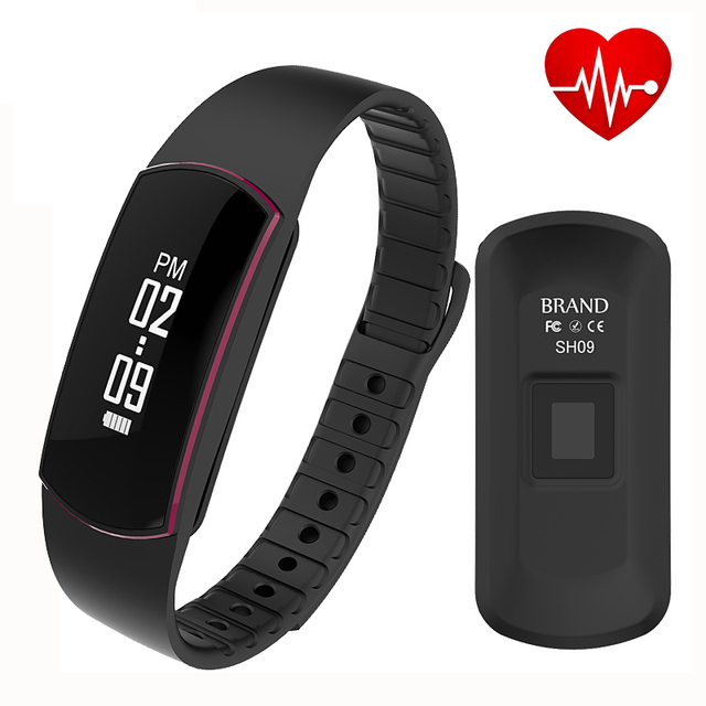 Waterproof SH09 Bluetooth 4.0 Smart Bracelet heart rate monitor Sport Smart Wristband Fitness Tracker PK mi band 2 id107 P10