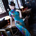 High quality Material Spring & Autumn cheongsam Traditional fashion chinese dress short-sleeve silk cheongsam formal dress