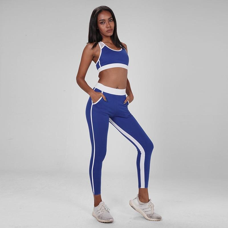 57a52f2a71a5f0 2019 sport Wear dla kobiet siłownia odzież joga zestaw Patchwork sportowej  dwuczęściowy Fitness sport dres biegowy