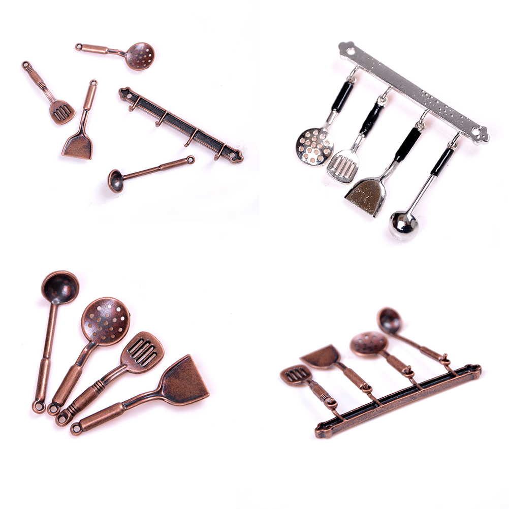 5pcs 1:12 Metal Kitchenware Bronze Dollhouse Model Cook Set Classic Kitchen Supplies Parts Toys Doll House Miniature