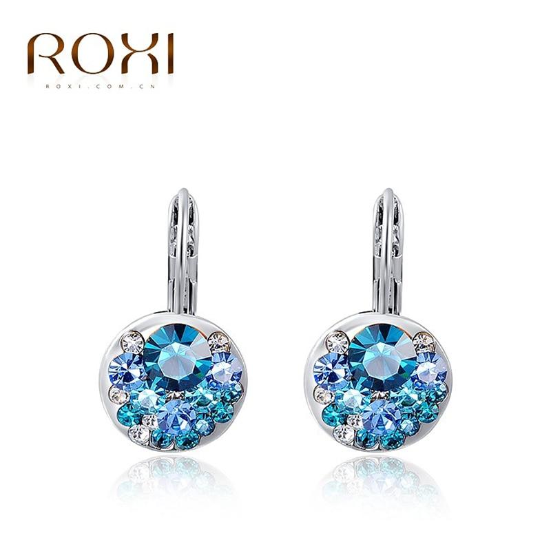 ROXI Hot Blue Round Stone Øredobber Mote Smykker Rose Gold - Mote smykker - Bilde 2