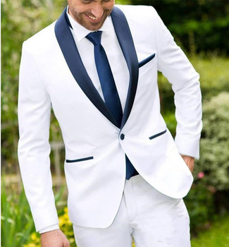 White Two Piece Wedding Groomsmen Tuxedos One Button Navy Shawl Lapel Custom Made Business Men Suits Jacket+Pants