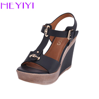 HEYIYI Wedges Platform Shoes Women Sandals T Strap High Heeled Blue Color Fashion Adjustable Buckle Strap