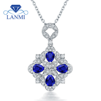 Special Design Blue Sapphire Pendant Necklace Real14K White Gold Charming Diamond Wholesale Fine Jewelry Women Thanksgiving Gift