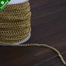 25 metros 4,8x3,2 MM Latón chapado en oro 14K cadena ovalada, hecha a mano