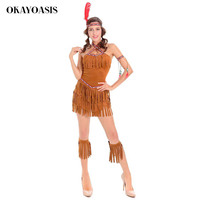 OKAYOASIS 5 Pcs Halloween Carnival Indian Costume Party Dress Cosplay Indian Costume Womens Adult Fancy Dress