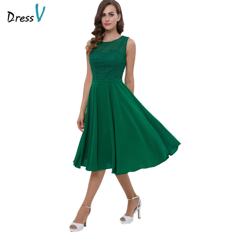 Dressv vestito homecoming verde economici sweetheart zipper up lace una linea di cocktail party dress tea length vestito homecoming