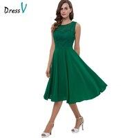 Dressv homecoming dress green cheap sweetheart zipper up lace a line cocktail party dress tea length homecoming dress