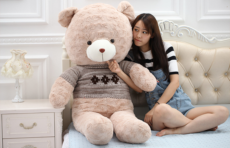 цена на stuffed toy huge 140cm teddy bear plush toy gray sweater bear creative soft doll sleeping pillow Christmas gift b1291