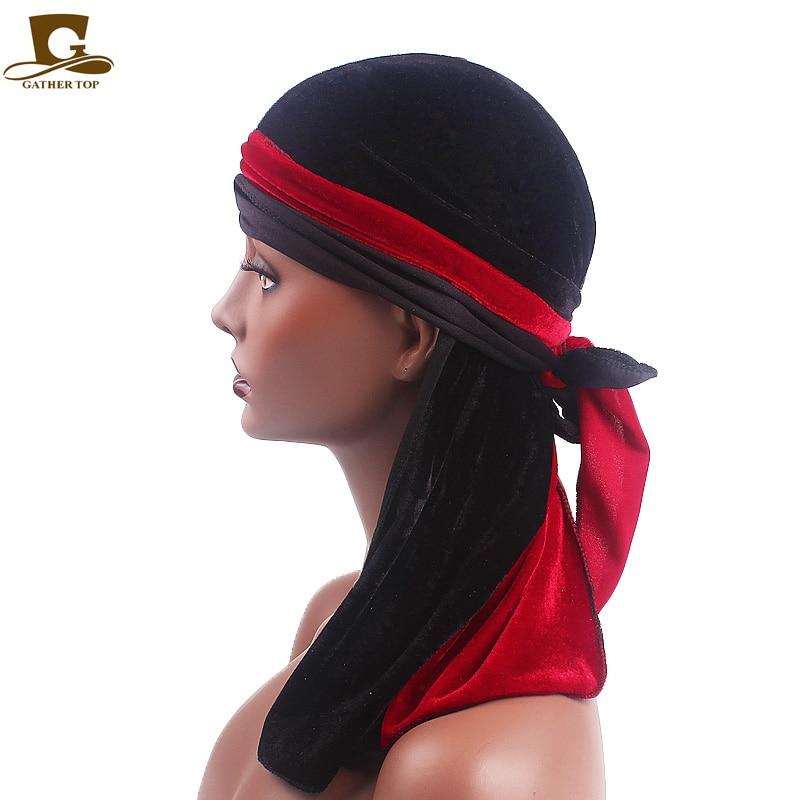 Baru Merenggang pria Beludru Durags Turban Bandana Topi Wig Setengah - Aksesori pakaian - Foto 3