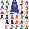 30 unids lados dobles super hero cabos-kids superhero capes con máscaras de batman spiderman ironman superman cosplay fiesta de disfraces