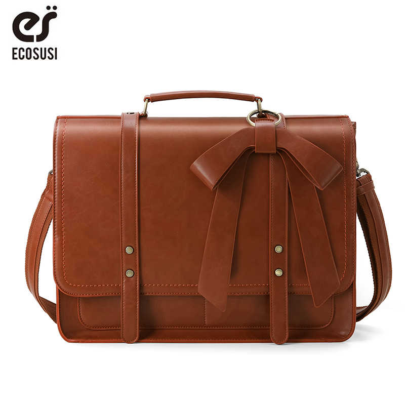 ECOSUSI Women PU Leather Handbags Vintage Messenger Bags School Shoulder Bags for 15.6 Inch Laptop Ladies Briefcases