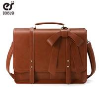 ECOSUSI Women PU Leather Handbags Vintage Messenger Bags School Shoulder Bags for 15.6 Inch Laptop Ladies Briefcases