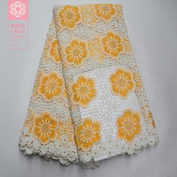 2019 Yellow Color Flower Guipure Embroidery Stones Beaded Lace Fabric Water Soluble Style For African Women Bride Wedding Laces