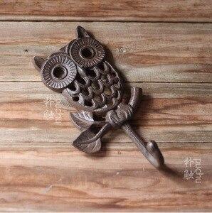 Image 2 - H:19 см, промышленный ретро стиль, чугунный настенный крючок в виде совы, крючки для одежды