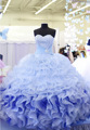 Cristais vestidos quinceanera querida Slivery 2017 Luz Azul Vestidos De Baile vestidos de 15 anos Sexy Vestidos Quinceanera