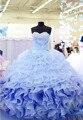 Cristales vestidos de quinceañera Sweetheart Slivery 2017 Light Blue Ball vestidos vestidos de 15 anos presentación Vestidos de Quinceañera Sexy