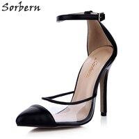 514d4a2979 Sorbern Black See Through Women Pumps Ankle Strap Custom Colors High Heel  Clear Soft Plastic Two. Sorbern Preto Ver Através Das Mulheres ...