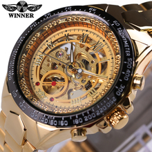 2016 WINNER Luxury Brand Watches Men Automatic self-wind Fashion Casual Male Sports Watch Full Steel Gold Skeleton Wristwatches