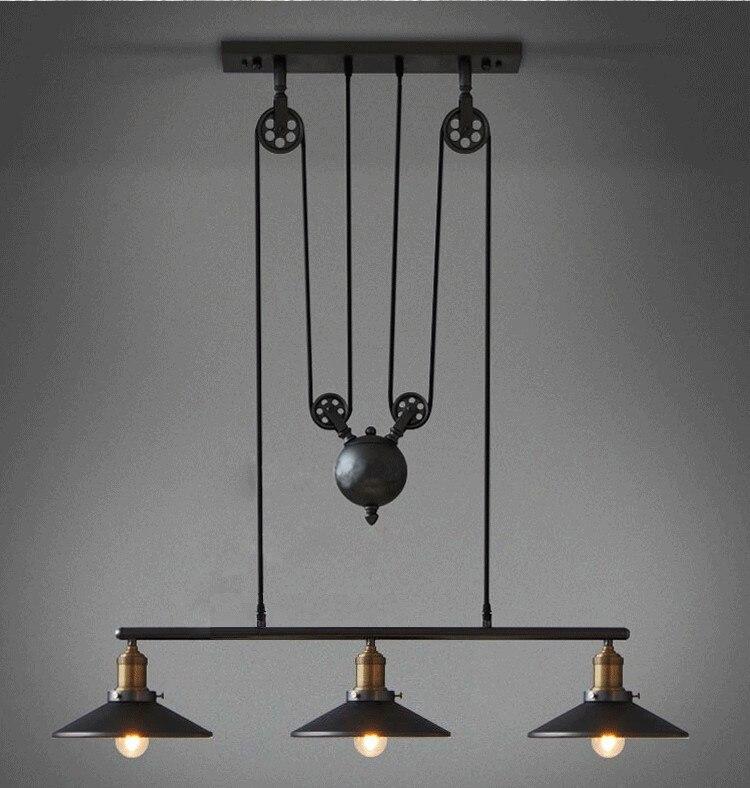 loft vintage pendant lights iron pulley lamp bar kitchen home decoration e27 edison light fixtures free - Home Decor Lights