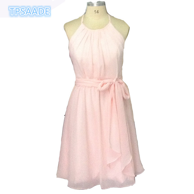 Sexy robe de soiree Vestido De Festa 2017 knee-length pink Chiffon formal dresses A-line pleated Top Party Evening Dress