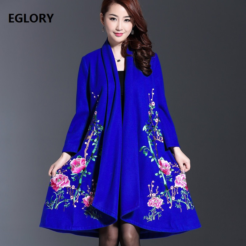 2018 Autumn Winter Wool Cardigan Jacket Women Warm Thick Wool & Blends Coat Female Luxurious Embroidery Long Sleeve Wool Coat
