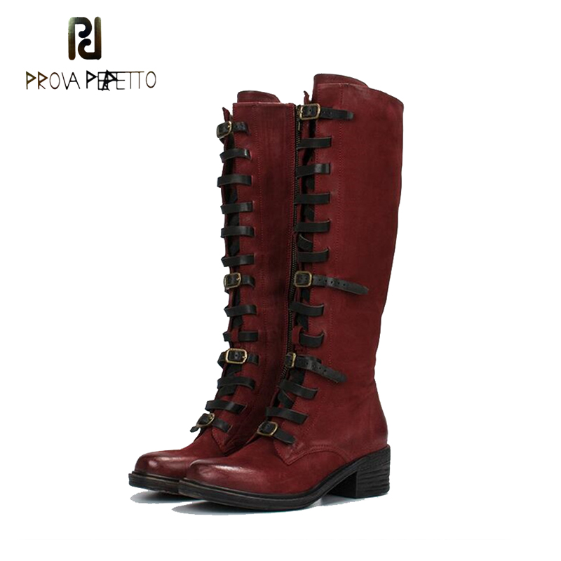 Prova Perfetto Women Knee High Boots Retro Knight Boot Autumn Winter Zipper Boots Straps Shoes Woman Platform Rubber Long Boots prova perfetto brown women genuine leather high heel boot platform mid calf high boots buckle straps martin botas shoes woman