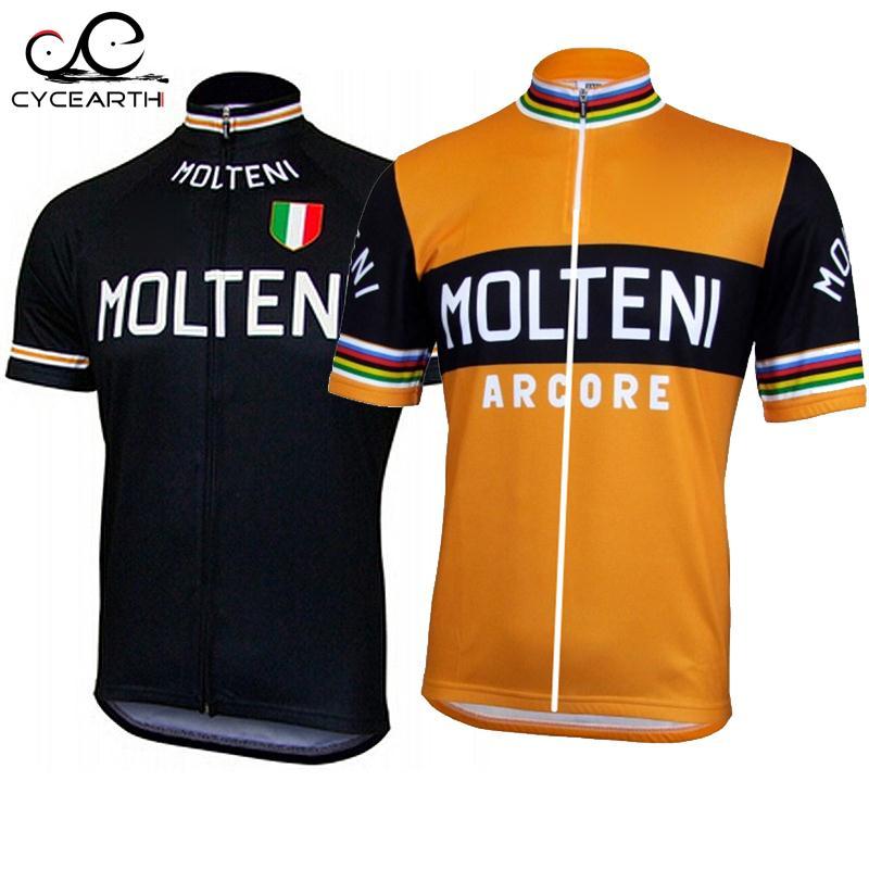 Prix pour Molteni ropa ciclismo de Sport cyclisme jersey seulement à Manches courtes D'été Cyclisme Clothing orange noir vtt maillot #584