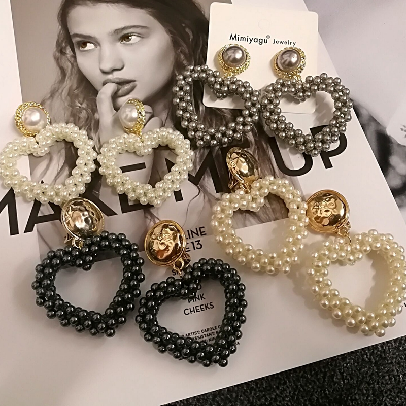 Mimiyagu Korean Handmade Pearls Heart-shaped Big Drop Pearl Earrings For Women