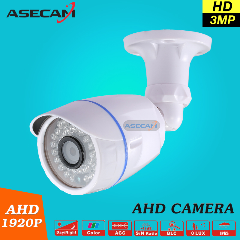 New 3MP HD Full 1920P Security Camera White plastic Bullet CCTV Day/night Surveillance AHD Camera Waterproof 36led infrared zea afs011 600tvl hd cctv surveillance camera w 36 ir led white pal