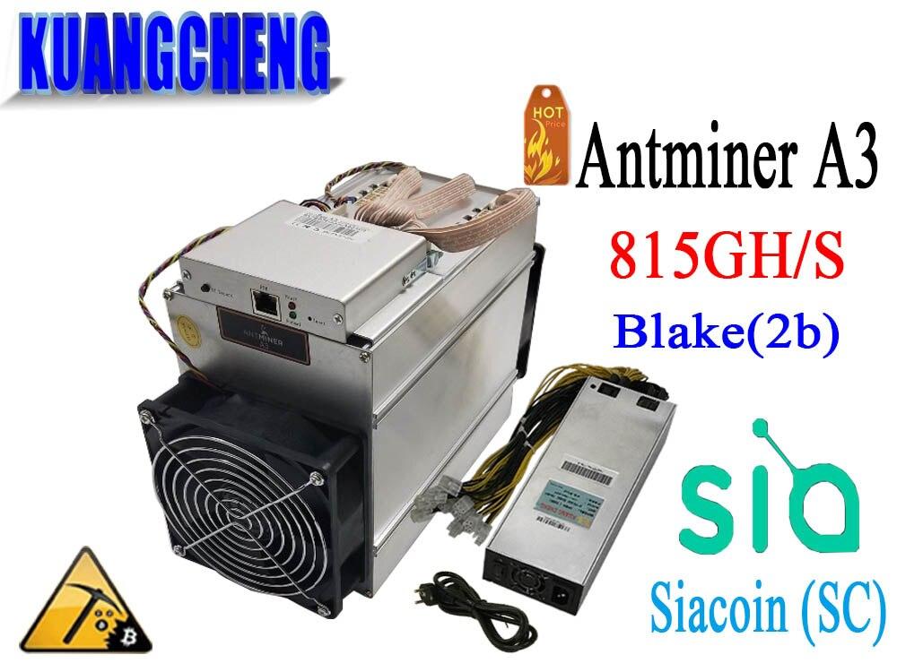 KUANGCHENG Mining BITMAIN Antminer A3 815G (Blake2b algorithm) Asic dedicated mining machine with psu nephron algorithm