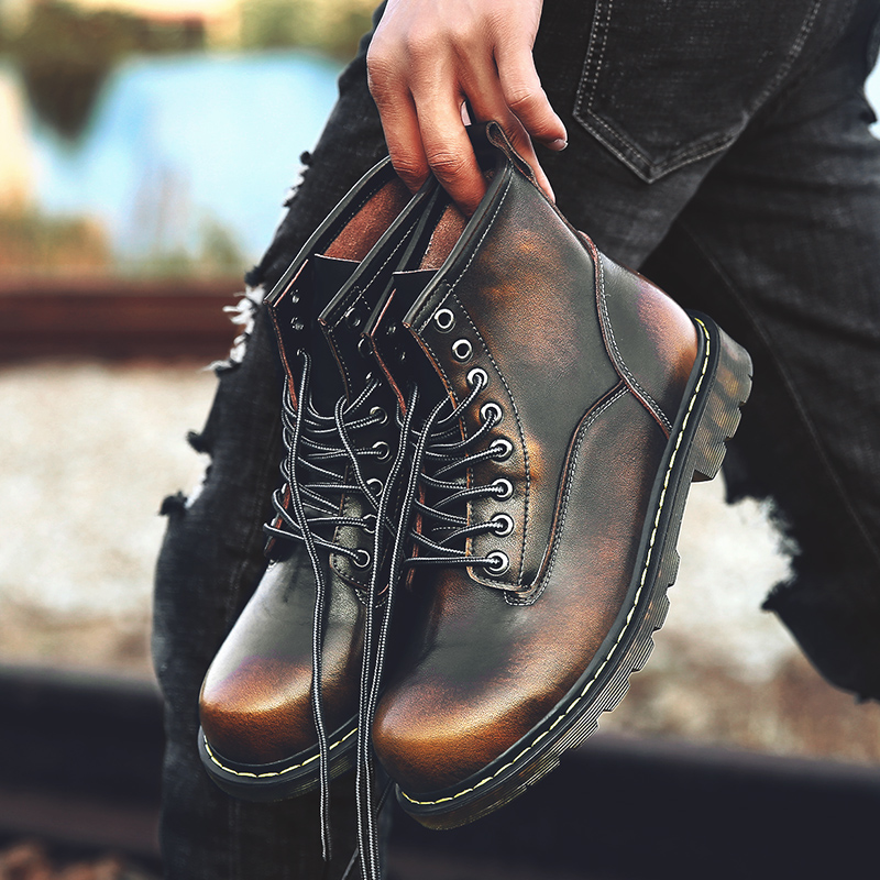 High Quality Genuine leather Autumn Winter Men Boots Waterproof Ankle Boots Men Mart Boots Outdoor Working