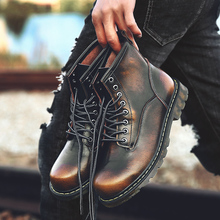 Купить с кэшбэком High Quality Genuine leather Autumn/Winter Men Boots Waterproof Ankle Boots Men Mart Boots Outdoor Working Boots Men Shoes
