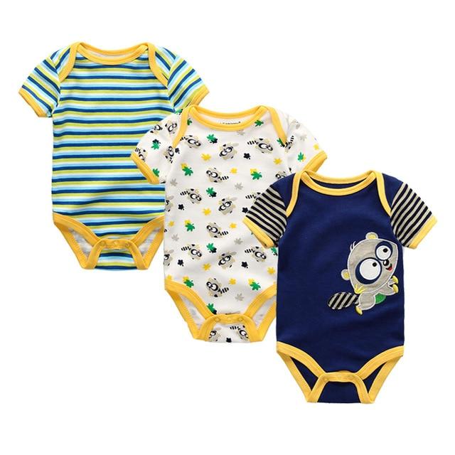 3 יח'\חבילה יילוד ילדה ילד תינוק בגדים באיכות גבוהה חמוד 100% כותנה שרוול קצר תינוק Rompers Roupas דה bebe Infantil תחפושות