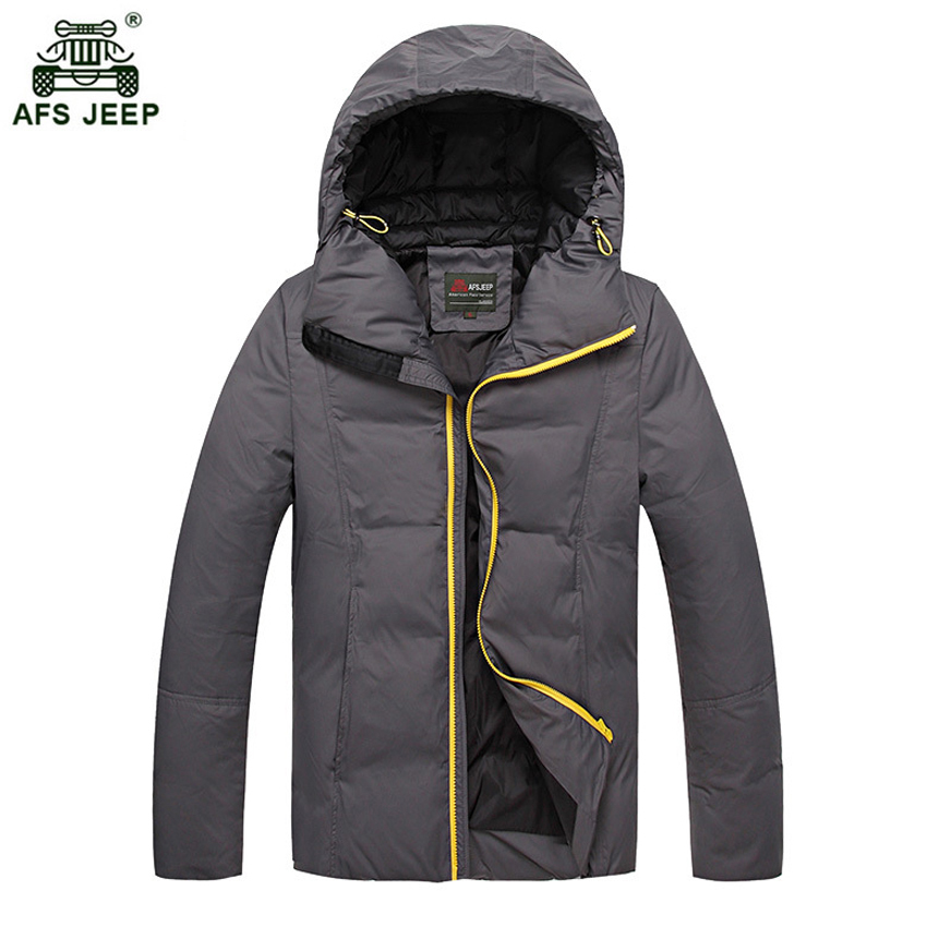 Brand Winter Mens Down Jackets Slight Waterproof Casual Outerwear Snow Coats Thick Hooded Duck Down Jacket For Man 268wy