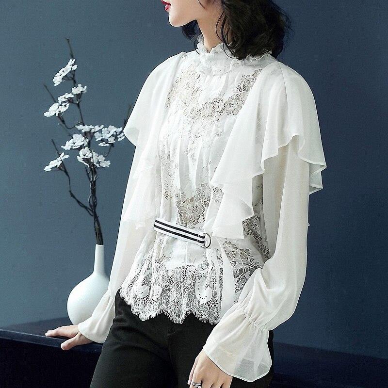 Nouveauté hauts 2018 automne Designer Blouse femmes dentelle Patchwork volants Sexy noir blanc dentelle Blouse chemise Feminino Blusas - 2