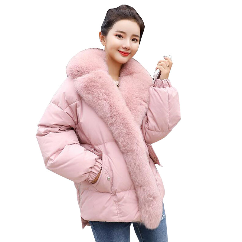 Fox Fur Collar 2018 New Winter Jacket Women Loose White Duck   Down   Jacket Plus Size   Down   Parkas Thicken Warm Women   Down     Coat