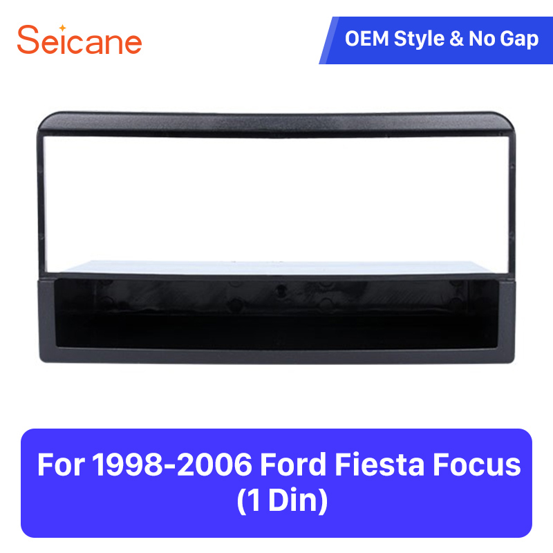 Seicane One din Installation Panel Kit Trim Stereo Dashboard Auto Mount Frame Car Stereo Fascia for 1998-2006 Ford Fiesta Focus