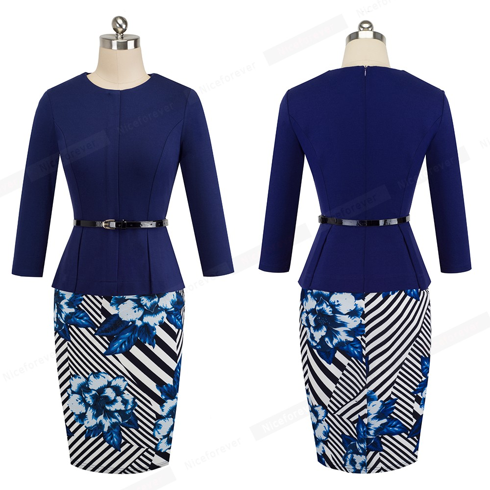 Nice-forever Vintage Elegant Wear to Work with Belt Peplum vestidos Business Party Bodycon Office Career Women Dress B473 21